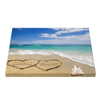 Personalisierte Namen-Herzen in der Sand-Kunst Leinwanddruck