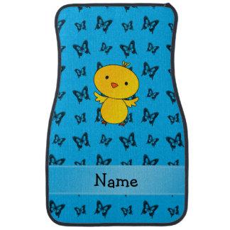 Personalisierte Namensbabyküken-Blauschmetterlinge Autofußmatte