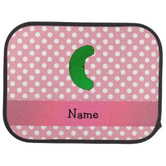 Personalisierte Namensessiggurkenrosa-Polkapunkte Automatte