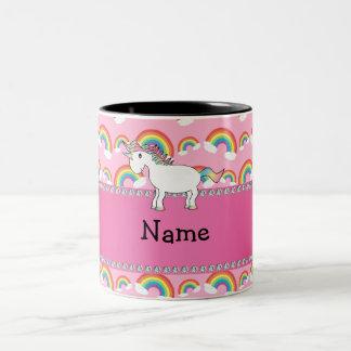 Personalisierte Namensunicornrosaregenbogen Zweifarbige Tasse