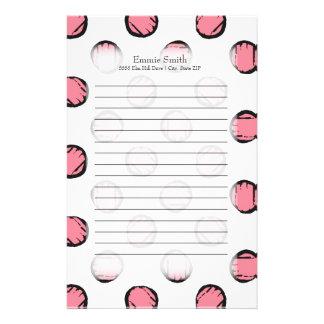 Personalisierte niedliche rosa Polka-Punkte auf Briefpapier