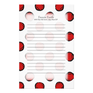 Personalisierte niedliche rote und weiße briefpapier