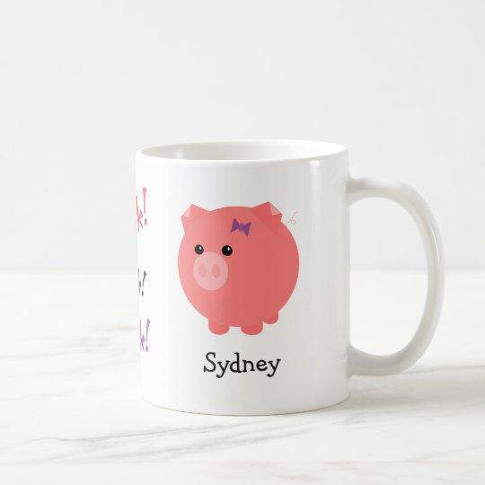 Personalisierte niedliche Schwein-Schale Kaffeetasse