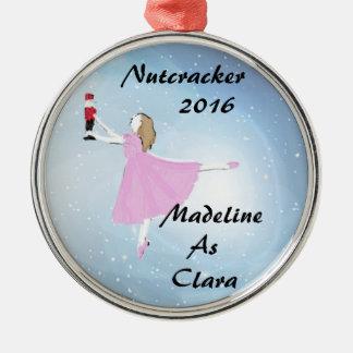 Personalisierte Nussknacker-Clara-Verzierung Silbernes Ornament