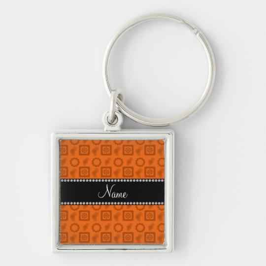 Personalisierte orange funky retro NamensBlumen Silberfarbener Quadratischer Schlüsselanhänger