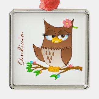 Personalisierte Owlivia Weihnachtsbaum-Verzierung Quadratisches Silberfarbenes Ornament