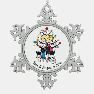 Personalisierte Paare, Junge, Schneeflocken Zinn-Ornament