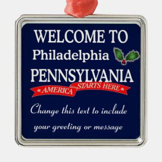 Personalisierte Philadelphia Quadratisches Silberfarbenes Ornament