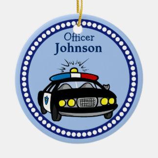 Personalisierte Polizei-Auto-Weihnachtsverzierung Keramik Ornament