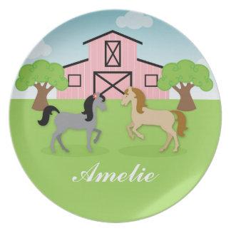 Personalisierte Reiterpferdeplatte Teller