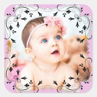 Personalisierte rosa Baby-Foto-Aufkleber Quadratischer Aufkleber