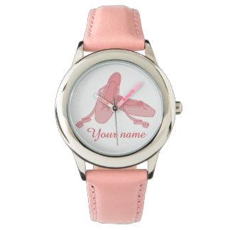 Personalisierte rosa Ballett-Pantoffel-Ballerina Armbanduhr