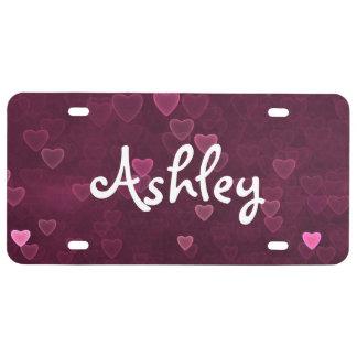 Personalisierte rosa Bokeh Herzen US Nummernschild