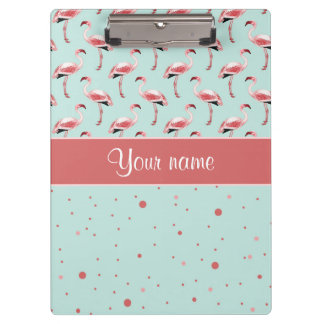 Personalisierte rosa Flamingo-Polka-Punkte Klemmbrett