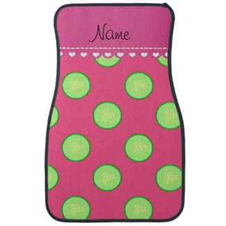 Personalisierte rosa grüne Gurkennamensscheibe Autofußmatte
