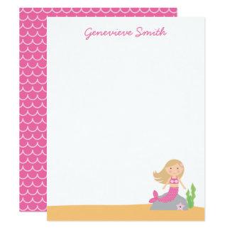 Personalisierte rosa Meerjungfrau 10,8 X 14 Cm Einladungskarte