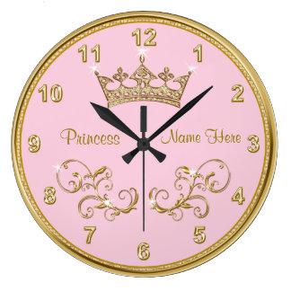 Personalisierte ROSA Prinzessin Clock mit Große Wanduhr
