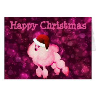 Personalisierte rosa Pudel-Weihnachtskarte Grußkarte