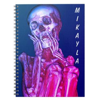 Personalisierte rosa Skeleton Radiographie Notizblock