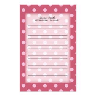 Personalisierte rosa und weiße Polka-Punkte Briefpapier