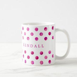 Personalisierte rosa Watercolor-Polka-Punkte Tasse