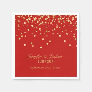 Personalisierte ROTE Goldconfetti-Hochzeit Papierservietten