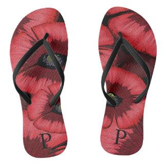 Personalisierte rote Mohnblume drehen Reinfälle um Flip Flops