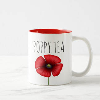 Personalisierte rote Mohnblumen-Tee Zwei-Ton Tasse