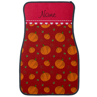 Personalisierte rote orange Namenskürbise Automatte