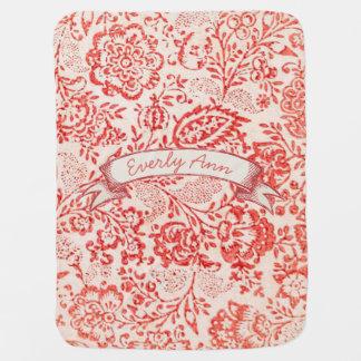 Personalisierte rote Vintage Blumentafel-Fahne Babydecke