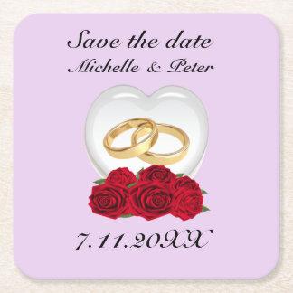 """Personalisierte """"Save the Date """" Wedding Rechteckiger Pappuntersetzer"""