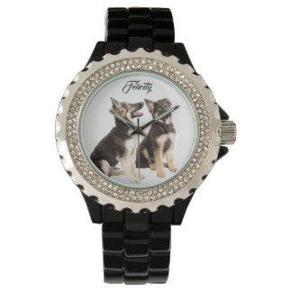 Personalisierte Schäferhund-Welpen Uhr