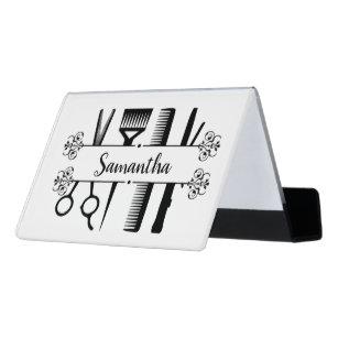 Personalisierte Schere im Friseursalon Schreibtisch-Visitenkartenhalter