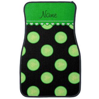 Personalisierte schwarze grüne Gurkennamensscheibe Autofußmatte