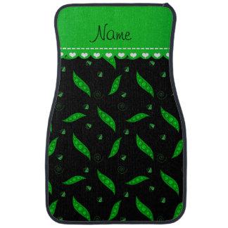 Personalisierte schwarze grüne Namenspeapods Autofußmatte