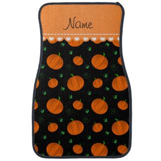 Personalisierte schwarze orange Namenskürbise Automatte