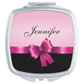 Personalisierte schwarze ROSA STEIGUNG Stripes Taschenspiegel
