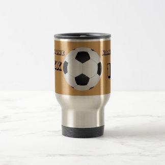 Personalisierte schwarze Text-Fußball-Trommel Reisebecher