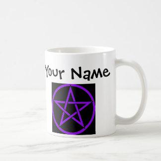 Personalisierte schwarze und lila Pentagramm Kaffeetasse
