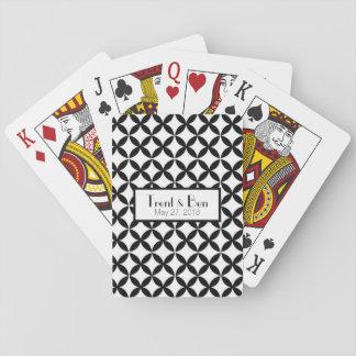 Personalisierte Schwarzweiss-Hochzeits-Spielkarten Spielkarten