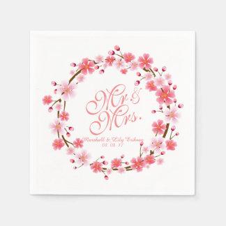 Personalisierte Serviette Kirschblütewreath-|