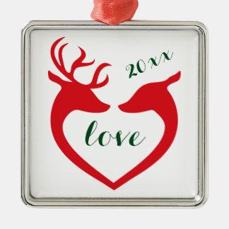 Personalisierte Silhouette-Herz-Rotwild-Paare in Quadratisches Silberfarbenes Ornament