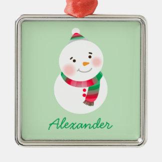 Personalisierte Snowman-Verzierung | rot und grün Quadratisches Silberfarbenes Ornament