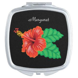 Personalisierte tropische Hibiskus-Blume Taschenspiegel