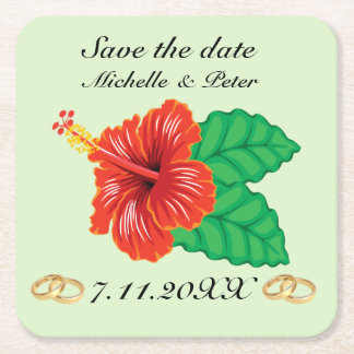 """Personalisierte tropische Hochzeit """"Save the Date Kartonuntersetzer Quadrat"""