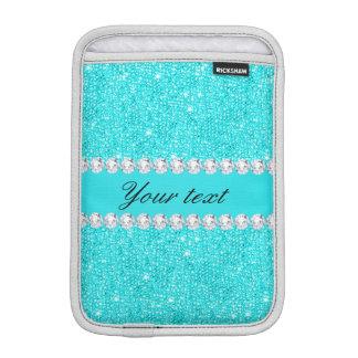 Personalisierte Türkis-Sequins und Diamanten iPad Mini Sleeve