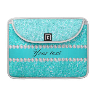 Personalisierte Türkis-Sequins und Diamanten MacBook Pro Sleeve