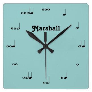 Personalisierte ursprüngliche Musik-Anmerkungs-Uhr Quadratische Wanduhr