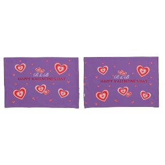 Personalisierte Valentines-Herzen auf Malvenfarbe Kissen Bezug