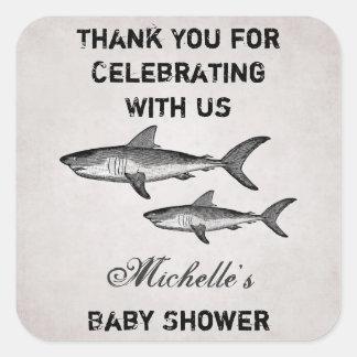 Personalisierte Vintage Haifisch-Baby-Dusche Quadratischer Aufkleber